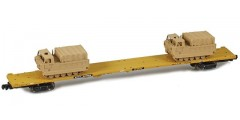 RTTX 89' Flat Car with M548 Tracked Cargo Carrier | Sand Yellow #990965