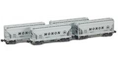ACF 2-Bay Hopper BNSF Monon 4 Car Set